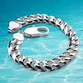 Men fashion bracelet ,Cuban silver bracelet new 925 Sterling silver jewelry vintage link chain sterling silver bracelet men