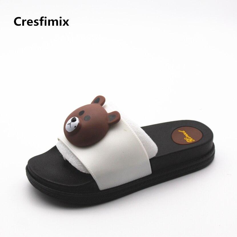 Cresfimix pantoufles mignonnes de femmes women cute soft pu leather slippers lady fashion animal print slippers casual slides