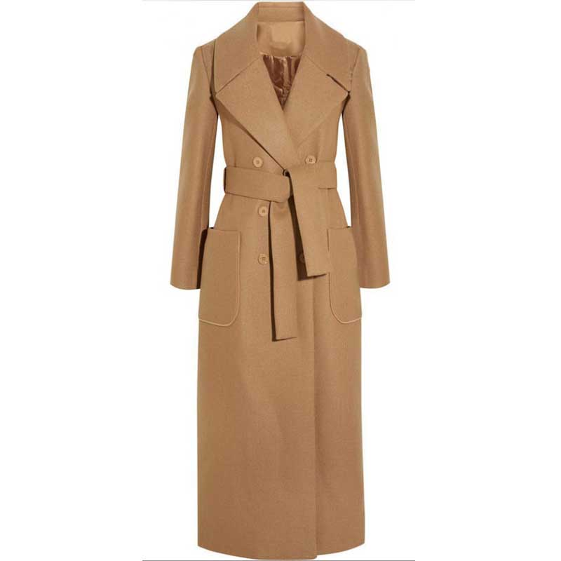 Women Long Wool Coat Double Breasted Overcoat Cashmere Trench Coat With Waistband Casual Slim Windbreaker