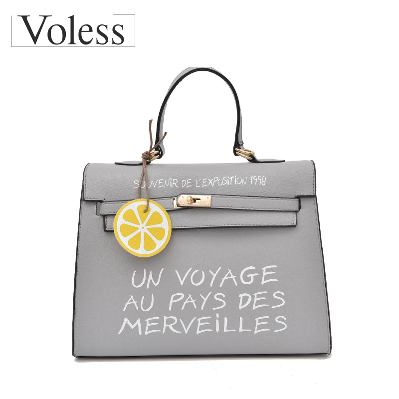 VOLESS Brand Women Messenger Bags Soft PU Leather Handbags Fashion Letter Tote Bags Sequined Female Handbags 2018 New Arrivel doodoo new women soft pu leather flap messenger bags fashion style solid pattern cover handbags for female versatile channel