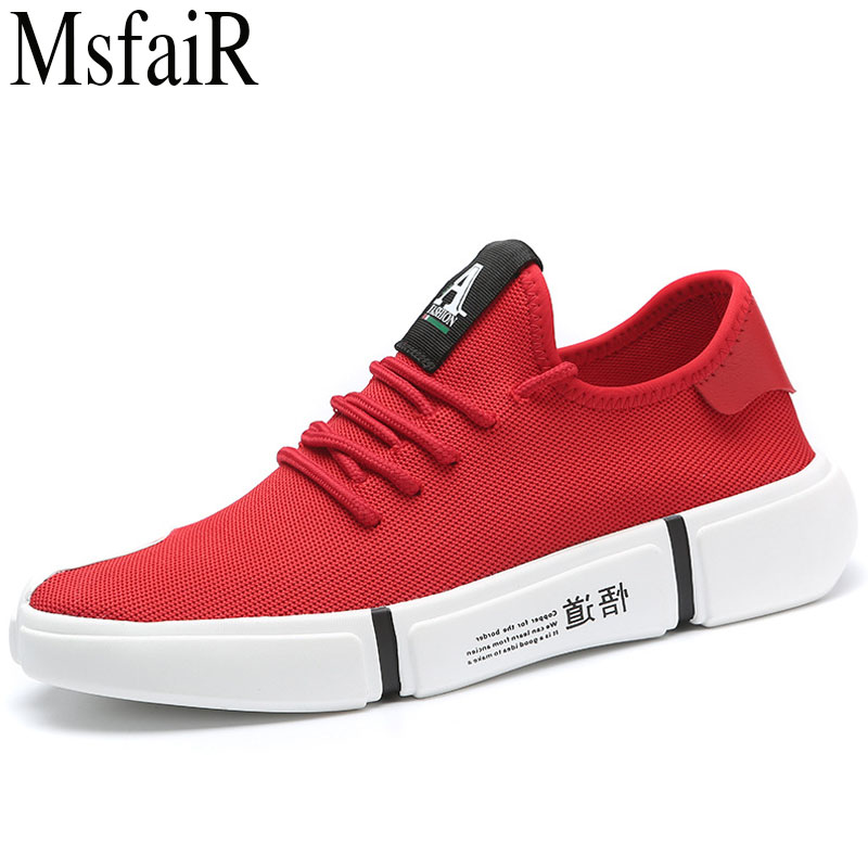 MSFSIR 2018 New style Running Shoes Men Brand Fly line of knitting Men Sport Shoes Outdoor Athletic Walking Sneakers Men