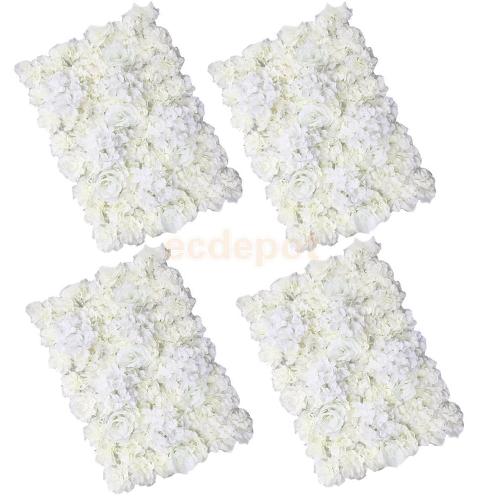 MagiDeal 4 pièces artificielle fleur mur lieu de mariage fleur pilier Main route décor crème décorations artificielles