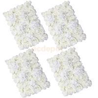 MagiDeal 4 pieces Artificial Flower Wall Wedding Venue Flower Pillar Main Road Decor Cream Artificial Decorations
