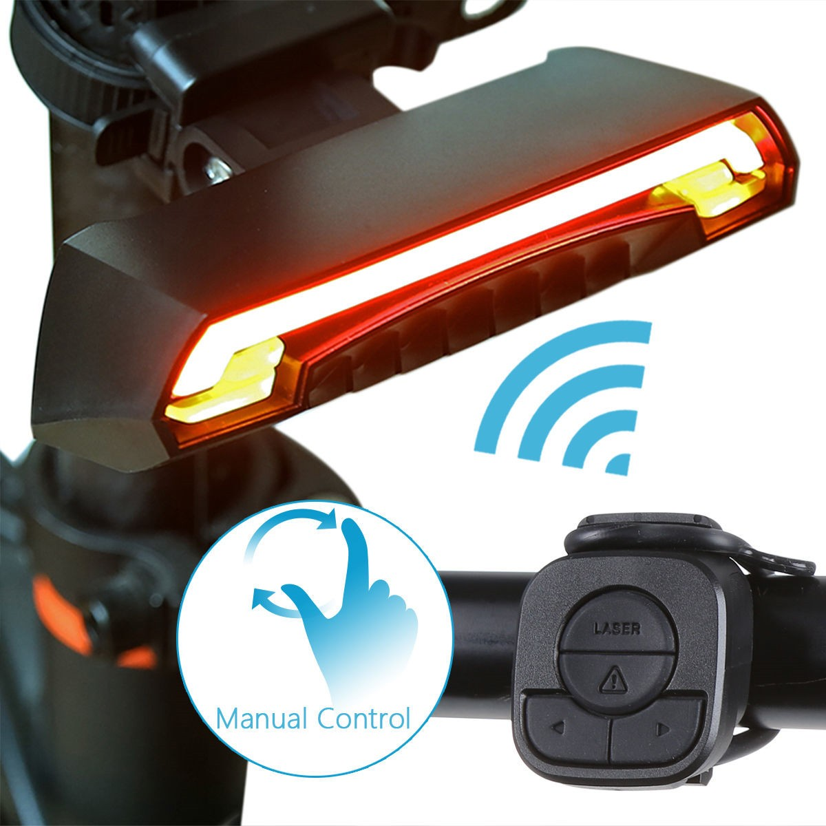 OUTERDO Bicycle LED Rear Laser Light USB Charging Wireless Remote Turning Indicator 95 X 47 X 30 mm MTB LED Lamp