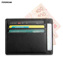 Ultra Thin Card Holder Genuine Leather Wallet for Woman and Man Mini Open Square Coin Purse Solid Id