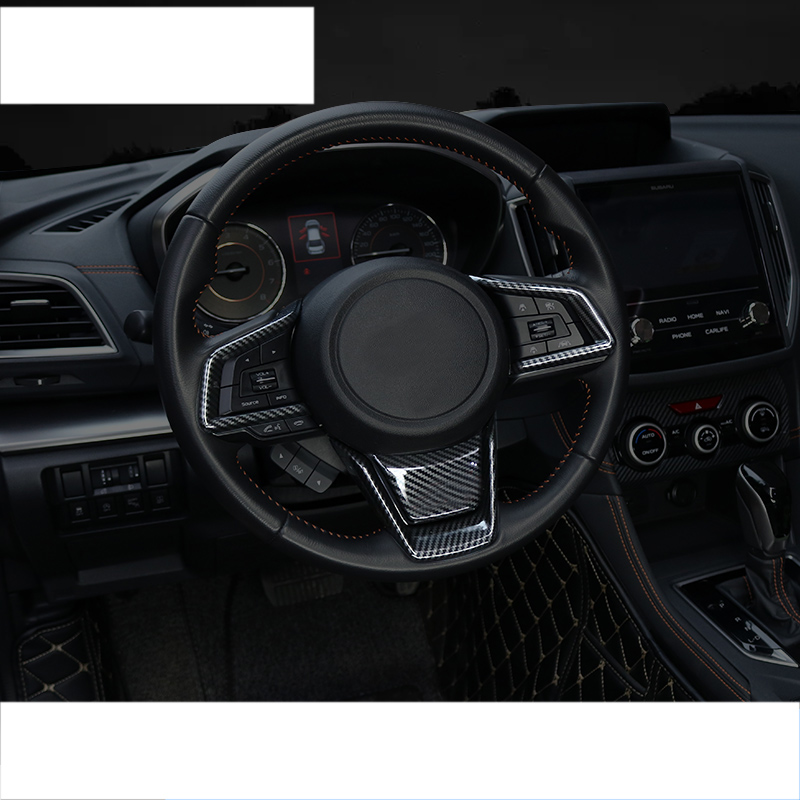 lsrtw2017 carbon fiber car steering wheel trims decoration for subaru forester xv 2018 2019 2020