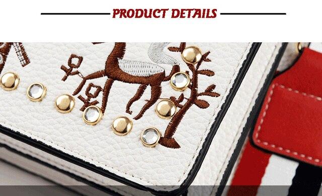 Women Handbag 2018 Rivet Hit Color Leather Messenger Bag Pearl Embroidery Structured Handbags Designer Shoulder Sling Bag 5