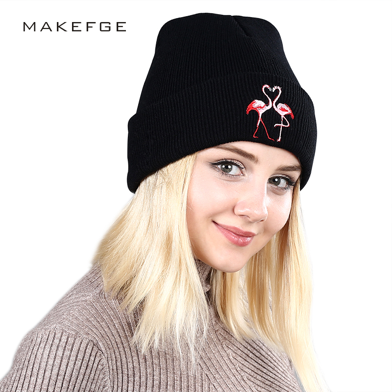 6d8e9737940 2018 New Fashion Flamingo Embroidery Knit Beanies Hat High Quality Winter  Hats Man Woman Soft Cap Warm Bone Slouchy Ski Cotton-in Skullies   Beanies  from ...