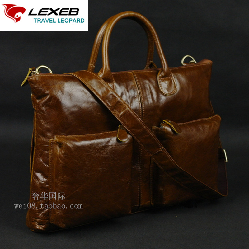 LEXEB Brand Full Grain Leather Briefcase Luxury Business Men Bag For 15 Laptop High Quality Men's Casual Bags Solid Brown lexeb brand lawyer briefcase vintage crazy horse leather men laptop bag 15 inches high quality office bags 42cm length brown