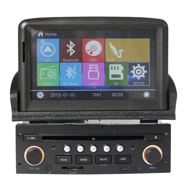 2din 100% New  for peugeot 307 (2007-) car dvd navigation multimedia system Steering Wheel Control Reversing Camera USB RDS FM
