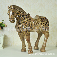 Европейском стиле антикварные деревянные эффект полый лошадь украшения американский смолы деловые подарки украшения дома