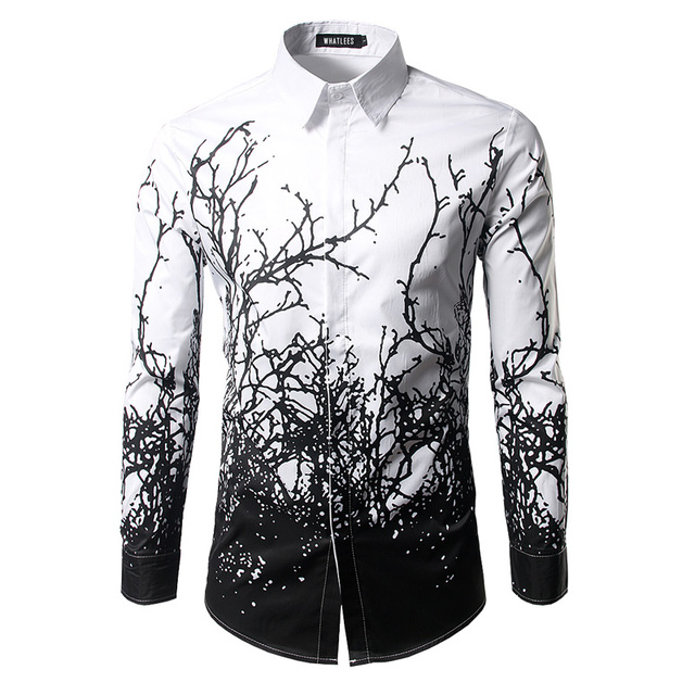 de luxe chemise hommes 2017 marque branches d 39 encre impression mens robe chemises casual slim. Black Bedroom Furniture Sets. Home Design Ideas