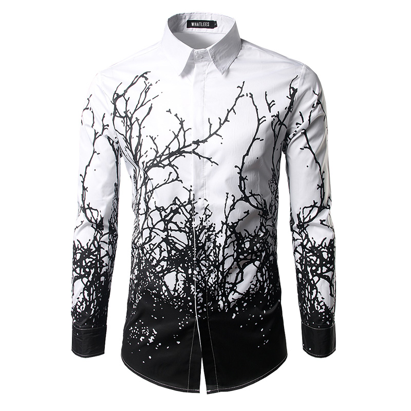 Luxury Shirt Men 2017 Brand Branches Ink Printing Mens Dress Shirts Casual Slim Fit White Black Chemise Homme Cotton Shirts Men