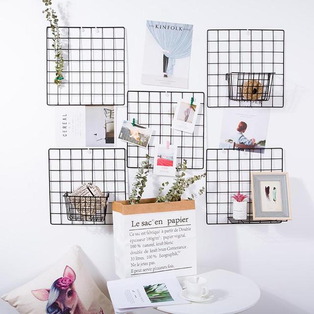 AIHOME 1pcs Black Grid Wall Shelf Hanging Decoration Pendant Art Display Storage Box