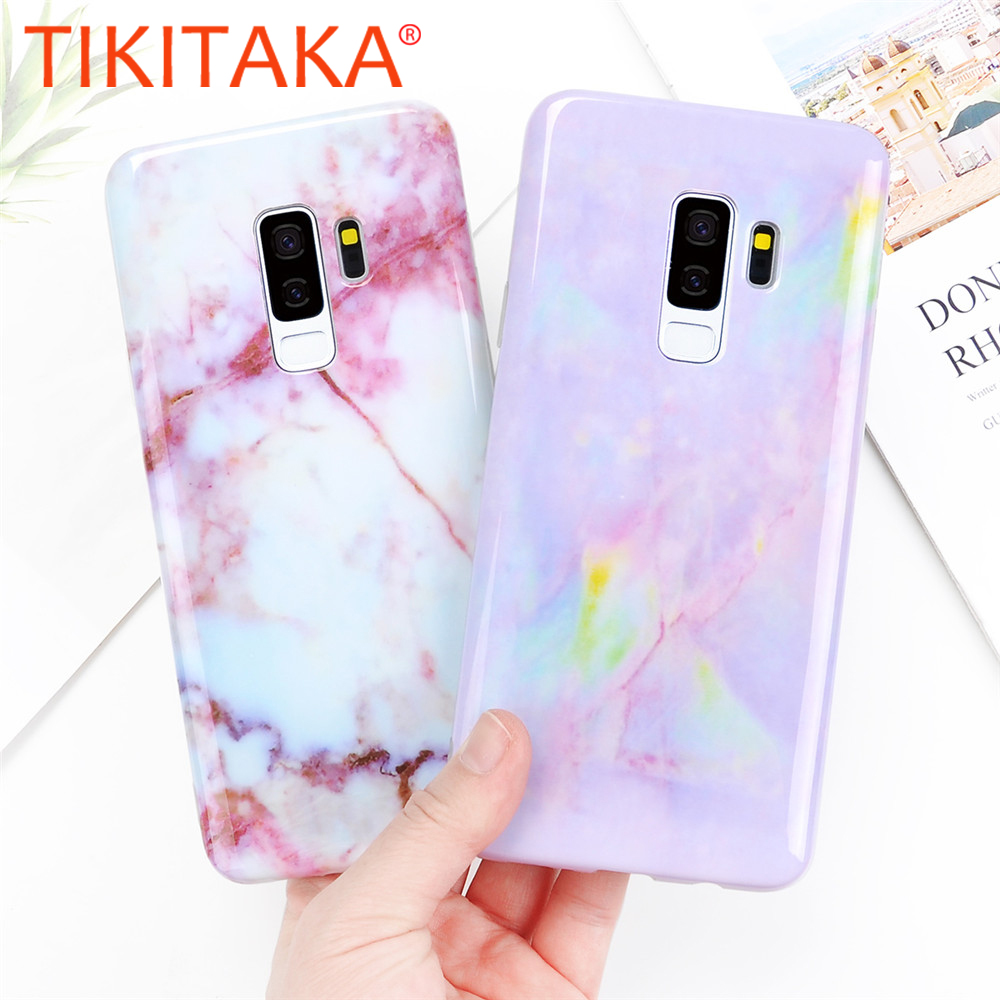 TIKITAKA Matte Marble Phone Case For Samsung S8 S8 Plus Fashion IMD Back Cover For Samsung S9 S9 Plus Case Marble