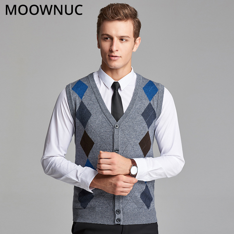 Men Vest Sweater Sleeveless Cardigan Men Classic Style FIt Fashion V-Neck Business Casual Male Homme Keep Warm 4XL MOOWNUC MWC