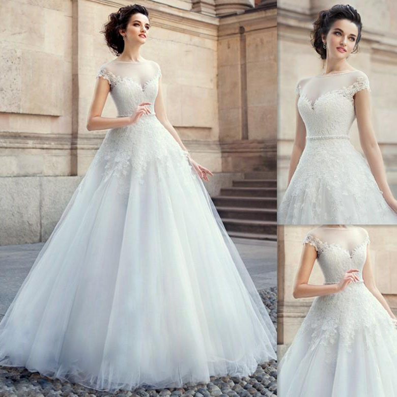 Ball Gown Wedding Dresses Famous Cap Sleeves Scoop Short Sleeve Tulle Liques Beading Bridal Gowns Custom Made In From Weddings Events