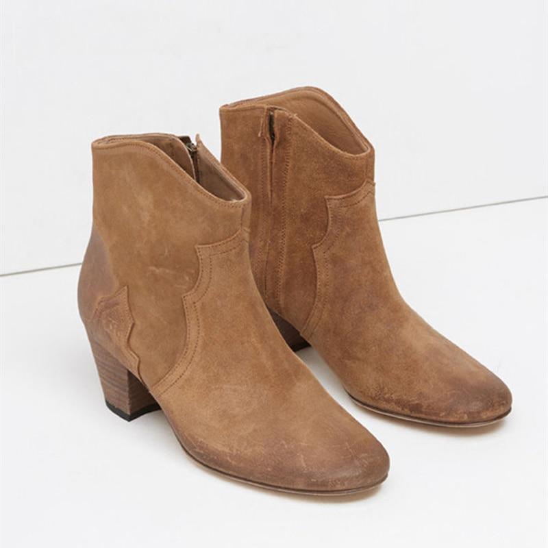 Европейские женские ботильоны Обувь на среднем каблуке Полусапожки с боковой молнией бренд взлетно посадочной полосы супер звезда шикарны