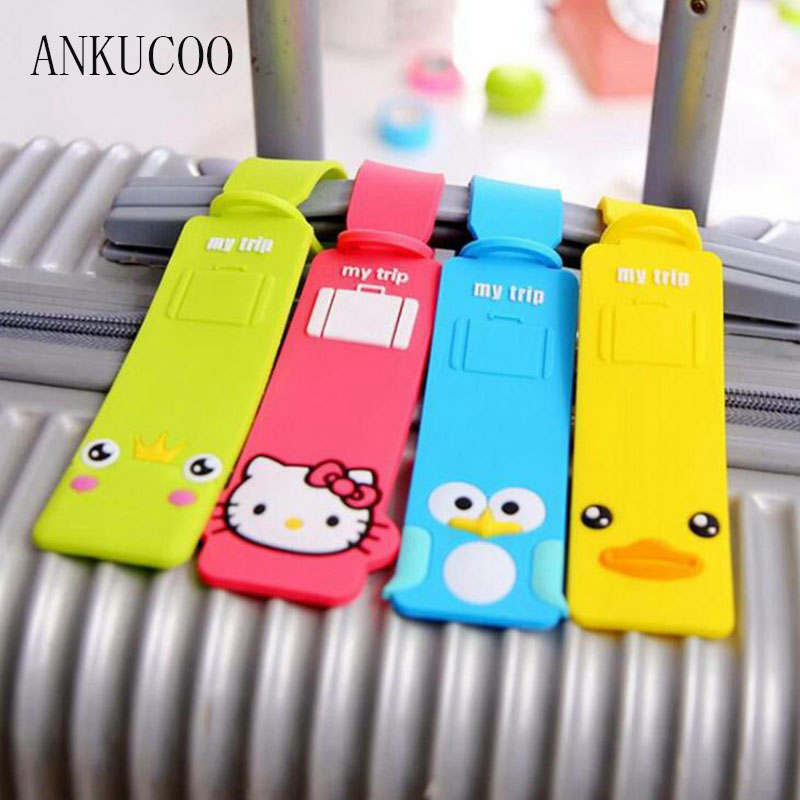 Luggage Suitcase Tag Cute Cartoon Silica Gel Hello Kitty Duck ID Address Holder Baggage Label Identifier Travel AccessoriesLuggage Suitcase Tag Cute Cartoon Silica Gel Hello Kitty Duck ID Address Holder Baggage Label Identifier Travel Accessories