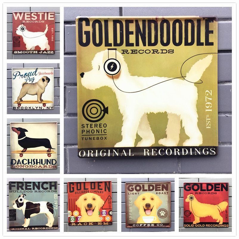 30*30cm PET Dog Vintage Metal Tin Signs Wall Stickers Plates Bar Pub ...