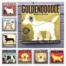 30*30cm PET Dog Vintage Metal Tin Signs Wall Stickers Plates Bar Pub Home Wall Decor Art Painting Festival Decoration Tools N140