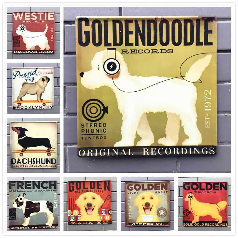 30*30cm כלב בציר מתכת פח שלטי קיר מדבקות צלחות בר פאב בית קיר תפאורה אמנות ציור פסטיבל קישוט כלים N140