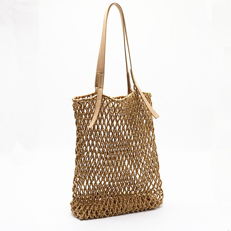 Woman Fashion Popular Woven Bag Mesh Rope Weaving Tie Buckle Reticulate Skeleton Hollow Straw Bag Net Boho Shoulder BagWoman Fashion Popular Woven Bag Mesh Rope Weaving Tie Buckle Reticulate Skeleton Hollow Straw Bag Net Boho Shoulder Bag