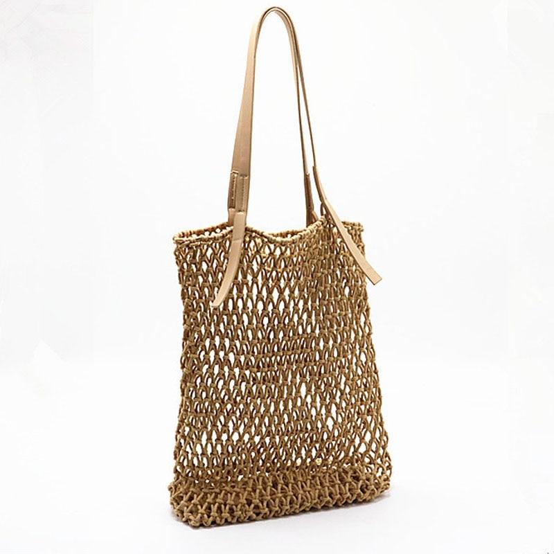 Woman Fashion Popular Woven Bag Mesh Rope Weaving Tie Buckle Reticulate Skeleton Hollow Straw Bag Net Boho Shoulder Bag