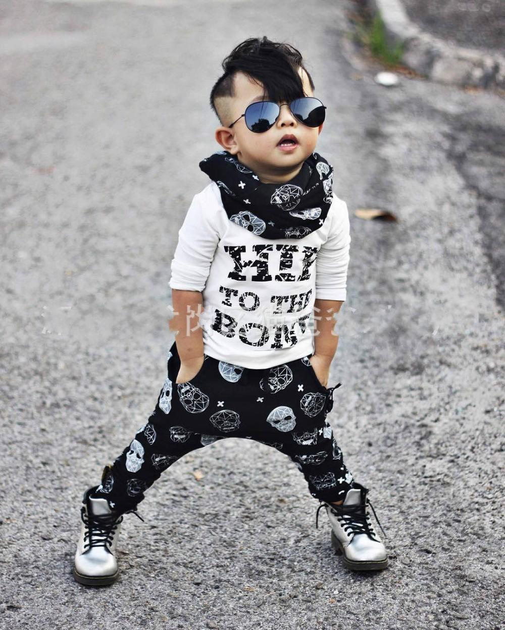 Autumn baby boy clothes cotton letters Long sleeved t-shirt+Skull head pants newborn infant suit Baby girl clothing 2pcs set newborn baby boy girl 5 pcs clothing set cotton cartoon monk tops pants bib hats infant clothes 0 3 months hight quality
