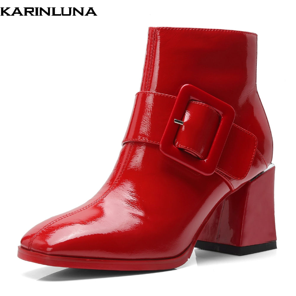 KarinLuna 2018 Genuine Leather Best Quality Cow Leather Zip Up Women Shoes Woman Boots Hoof High Heels Ankle Boots Woman ShoesKarinLuna 2018 Genuine Leather Best Quality Cow Leather Zip Up Women Shoes Woman Boots Hoof High Heels Ankle Boots Woman Shoes