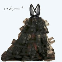 Custom Made New Design Evening Dress Sexy Open Back Black Prom Dress Tiered Ball Gown Party