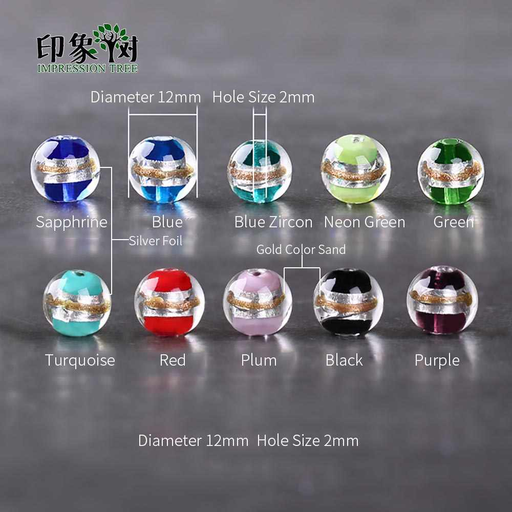 10 Buah 12 Mm Perak Foil Pasir Manik-manik Kaca Lampwork Beads Multi Warna Pesona Manik-manik Buatan Tangan Ornamen DIY Membuat Perhiasan 16018