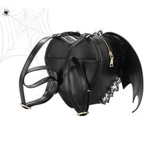 Frauen Punk Stilvolle Herz Fledermausflügel Reißverschluss Tasche Rucksack Novetly Spitze Bookbag