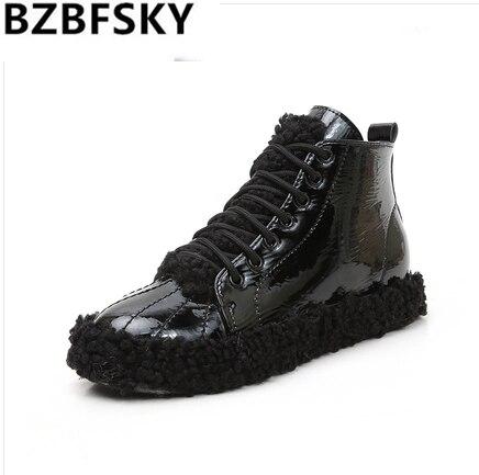 2019 nouveauté chaussures d'hiver femmes chaud en peluche vulcaniser chaussures femme plate-forme chaussures baskets noires dames chaussures décontractées formateurs