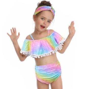 Fioday Rainbow Split stroje kąpielowe z pałąkiem na głowę dla dziewczynek stroje kąpielowe na świeżym powietrzu dziewczęce Bikini garnitury dziecięce plażowe stroje kąpielowe body tanie i dobre opinie Poliester spandex CN (pochodzenie) Dziewczyny Pływać CSJ000403 Pasuje prawda na wymiar weź swój normalny rozmiar W paski