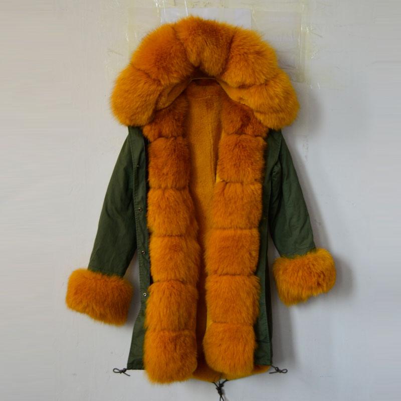 Fashion YELLOW Fox Fur Collar Hood Sleeves Parka Mrs Furs Inside Long Style Italy Jacket Coats