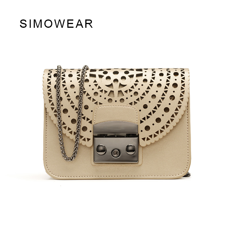 SIMOWEAR 2017 New Arrivals Famous Brand Hollow Out Designer Genuine Leather Bag Flap Chain Bag Ladies