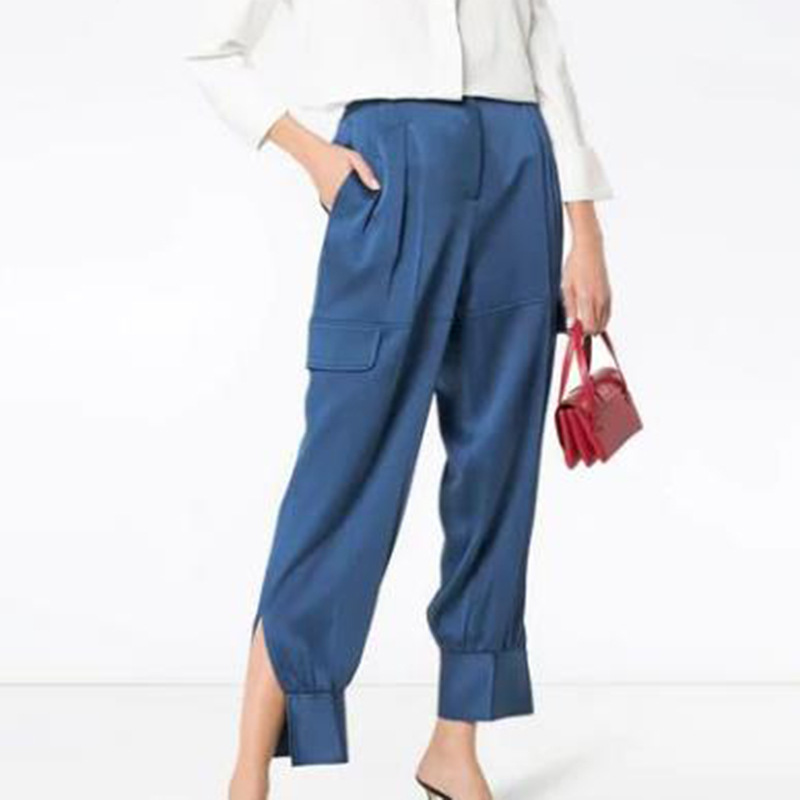 Summer hot new fashion loose satin pants stitching high waist women 39 s trousers casual Harlan women 39 s pants belt slim pants in Pants amp Capris from Women 39 s Clothing