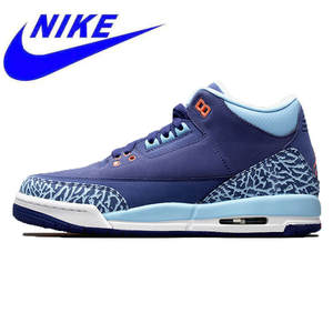 hot sale online 7c956 cea8e Original Nike Air Jordan 3 GS Blue Cap AJ3 Dark Purple Burst Crack Women  Basketball Shoes ,Comfort Outdoor Sneakers 441140-506