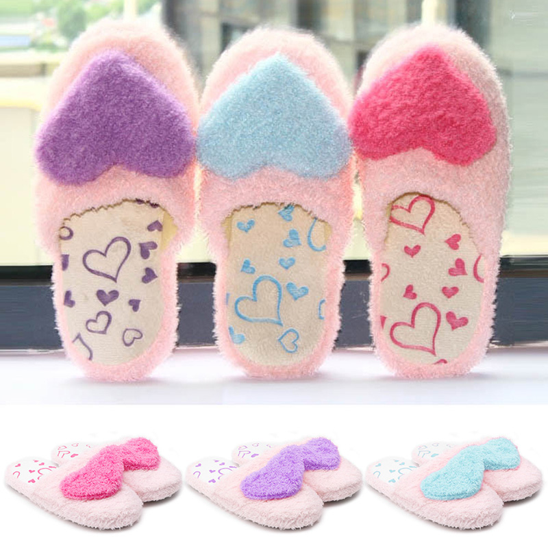 New Women Lady Girl Cute Home Candy Color Heart Shoes Indoor Cotton Blend Plush Padded Slippers Plush Casual Heart-shaped Shoe