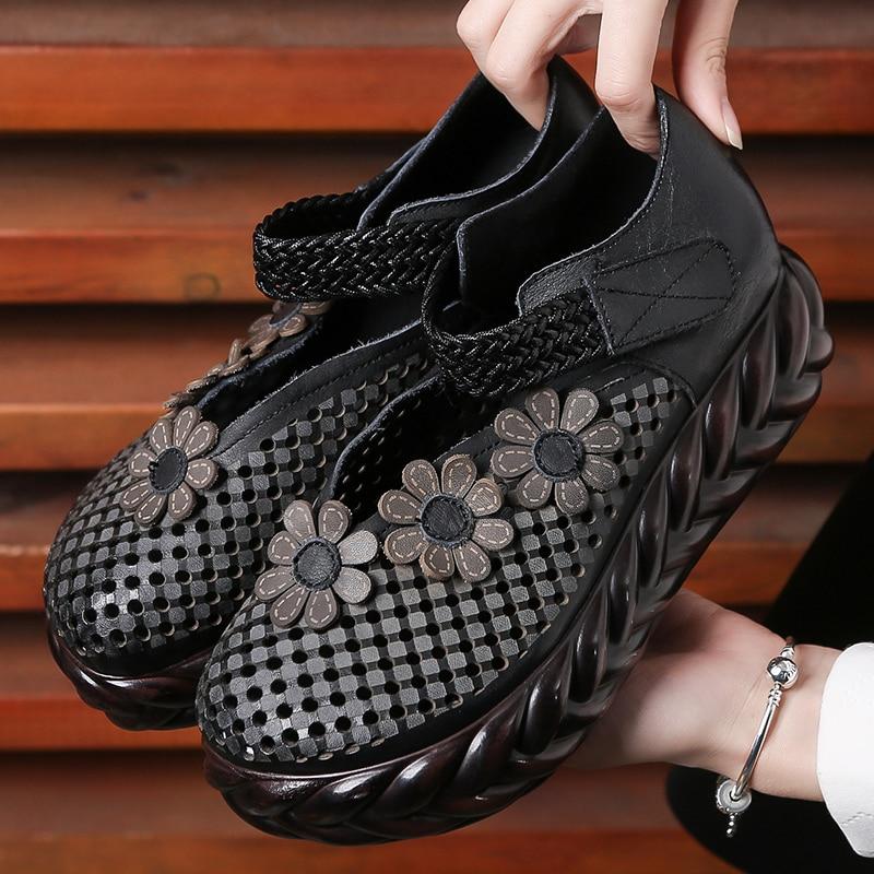 En À Cuir La D'été Haute Chaussures Main Rétro Noir Femmes 5 Printemps Cm vin Pompes Compensés Rouge Évider Talons 2019 PZukXi