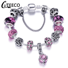 CUTEECO European Style Silver Plated Chain Charm Bracelet 6 Color Crystal Beads Brand For Women Jewelry Gift