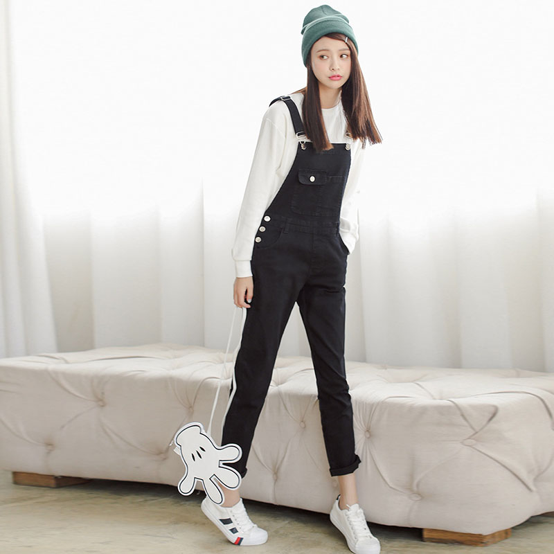 4 Colors Denim Jumpsuit 2018 Korean Preppy Style Fashion Pocket Womens  Jeans Jumpsuit Girls Casual Denim Overalls Skinny Women,in Jumpsuits from  Women\u0027s