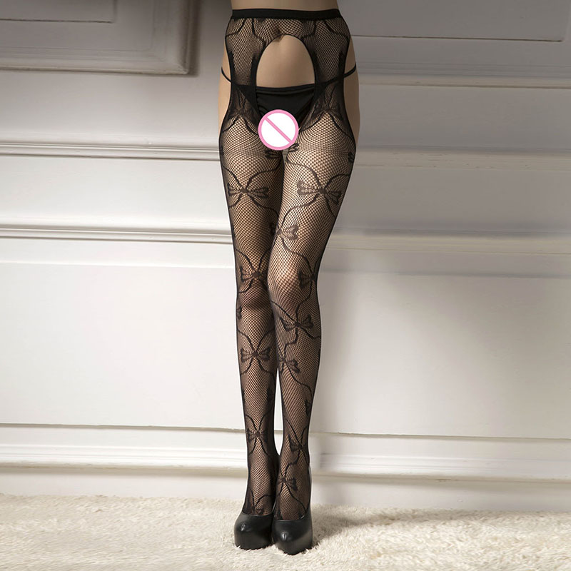 Women Sexy Fishnet Stockings Erotic Open Crotch Stocking Lingerie Female Thigh High Mesh Embroidery Transparent Pantyhose W5330