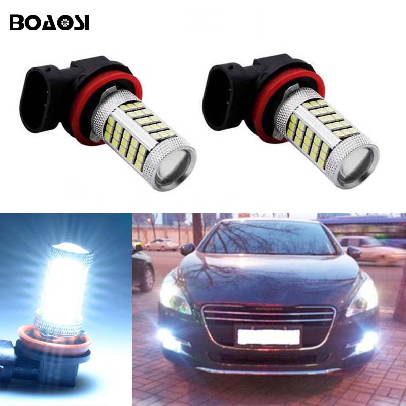 BOAOSI 2x Led H8 H11 Car Fog Driving Lamp Light Bulb For Peugeot 407 2008 Peugeot 301 2013-2014 Peugeot 3008 2011-2013 boaosi 2x car led 9006 hb4 2835 66smd light bulb auto fog light driving lamp light for subaru wrx vs sti 2008 2013