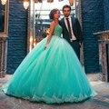 Verde menta Vestidos de Quinceañera 2017 Vestido de Fiesta Novia Apliques de Perlas Vestidos De 15 Anos Brillante Vestido de Fiesta Para Las Niñas