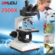 MUOU Top qualität! labor Verbindung Mikroskop 2500X LED Labor Trinokulares Mikroskop Metall binokular student