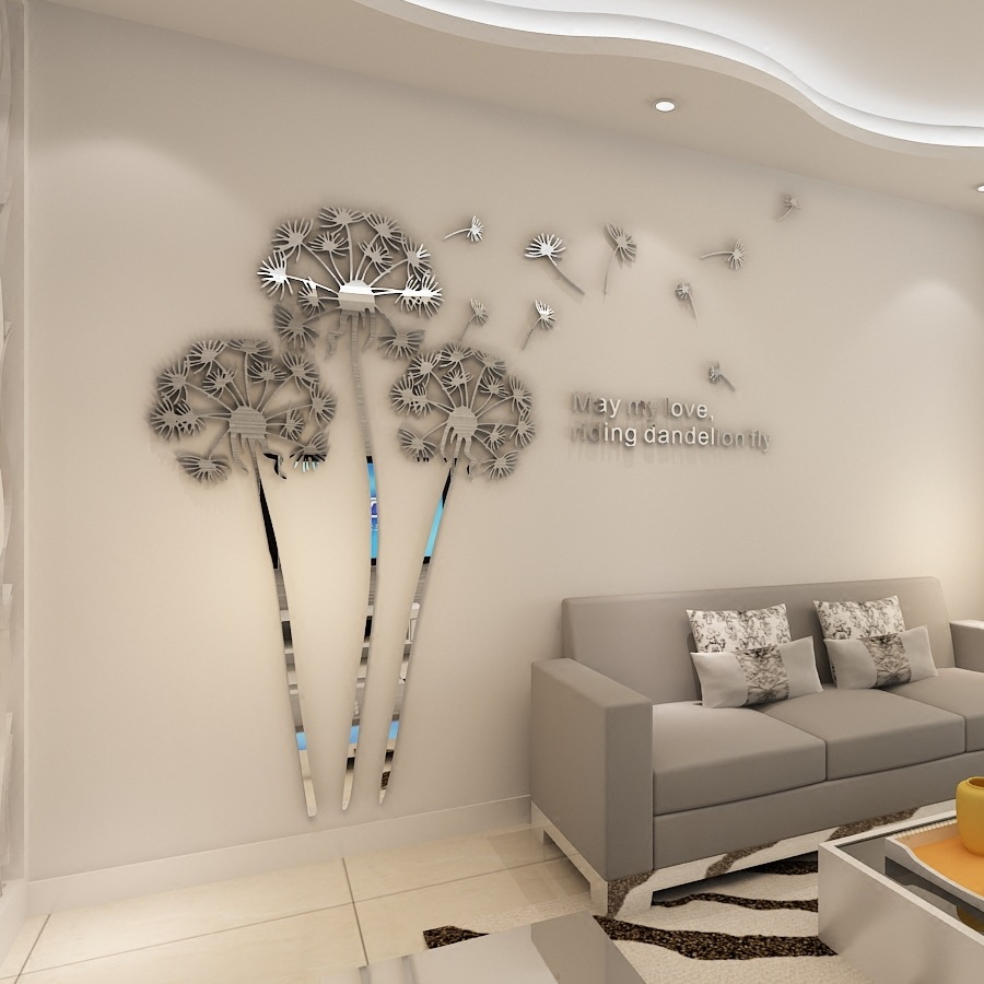 KEDODE 3D Stereo HD Mirror Sticker Dandelion Acrylic Mirror Creative Wall Decor Mirror Sticker High Quality For Home Decor