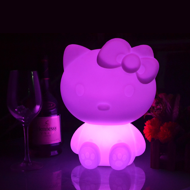 New Arrival Pretty Kitty Cat Shape L23*W18*H28.5cm Glowing in Dark KT PE Night Lights RGBW 16 Color Changing free shipping 1pc 2016 new 16 color changing rgb pe material led table lamps lighting for wedding atmosphere night lamp free shipping 4pcs lot