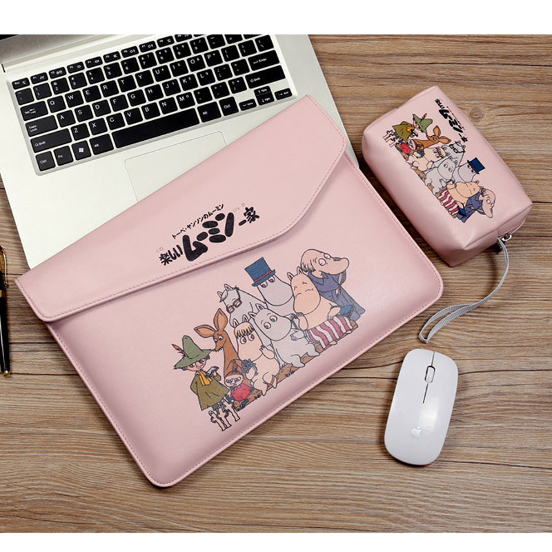Waterproof Smooth Cartoon PU Leather Sleeve Laptop Bags For Macbook Air 13 Bag Pro 14 15 Touch Bar Case Ultra Slim Women Cover